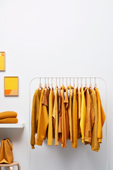 Wardrobe interior with yellow clothing on rack