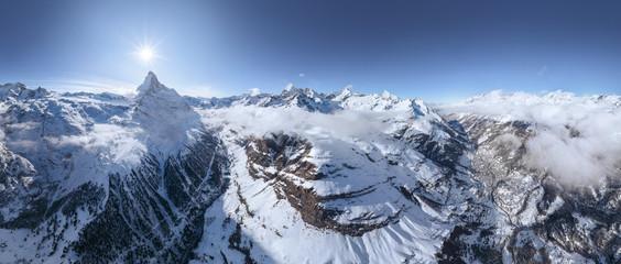 Scenic aerial view of the Matterhorn Mountain, Switzerland