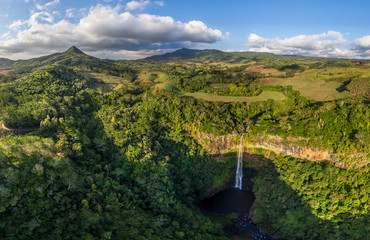 Aerial image of a waterfall at black river gorges national park, Mauritius.