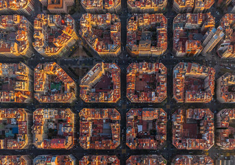 Aerial view of Barcelona superblocks