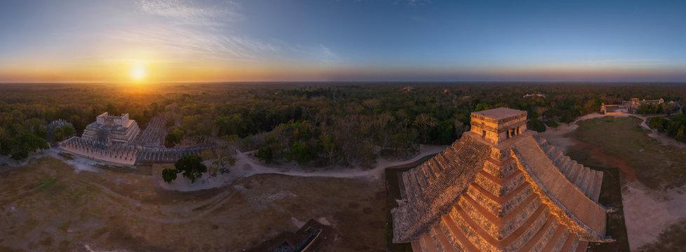 Panoramic aerial view of Maya Pyramids, Chichen Itza, Mexico