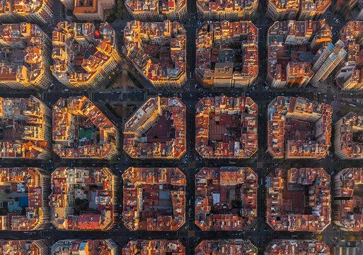 Aerial view of Barcelona superblocks
