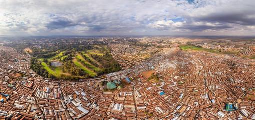 Aerial view of poor neighborhood in Nairobi, Kenya