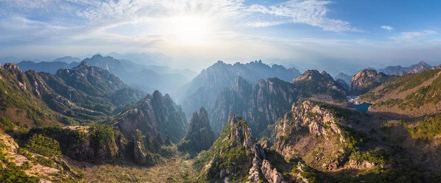 Panoramic aerial view of Huangshan mountains, China