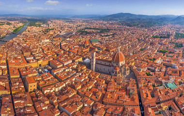 Aerial view of the Basilica of Saint Mary of the Flower, Florence, Italy