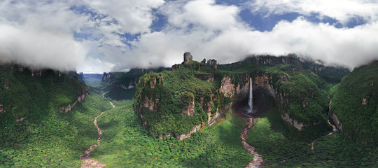 Panoramic aerial view of Angel Falls, Venezuela