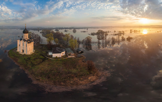 Aerial view of the church of Intercession of the Holy Virgin on the Nerl River, Russia.