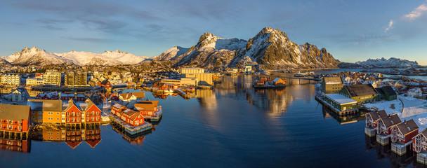Aerial image of SvolvÊr, Lofoten archipelago, Norway