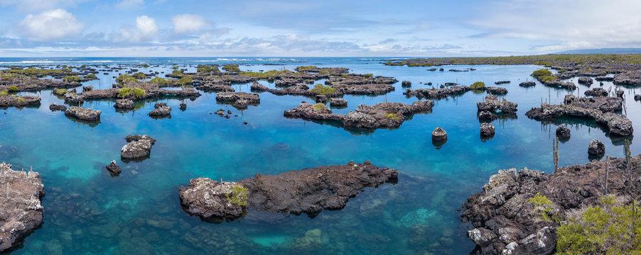 Panoramic aerial view of island archipelagos at Galapagos.