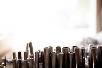 Closeup shot of different screwdriver heads with a blurred background