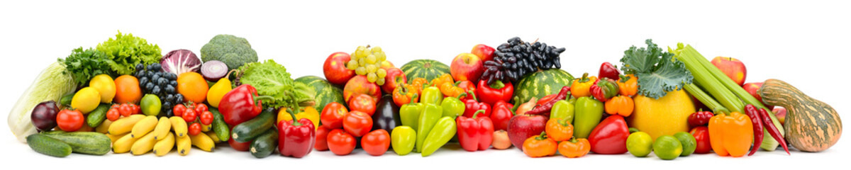 Panorama of multicolored fruits and vegetables isolated on white