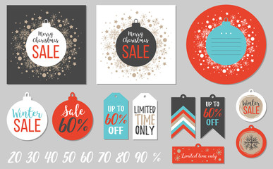 Abstract printable colorful tags collection for Christmas sale. Vector illustration. Set of cards and tags Merry Holidays sale