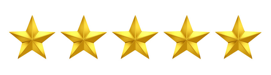 5 out of 5 stars rating. Five golden stars