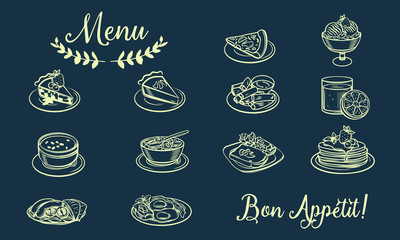 Drawn sketches of food and drinks. Icons and symbols can be used on the website or in the restaurant menu, illustrations for recipes or price pages, Menu food icons handmade chalk on a blackboard