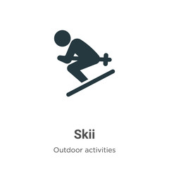 Skii vector icon on white background. Flat vector skii icon symbol sign from modern outdoor activities collection for mobile concept and web apps design.