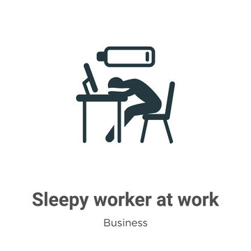 Sleepy worker at work vector icon on white background. Flat vector sleepy worker at work icon symbol sign from modern business collection for mobile concept and web apps design.