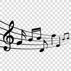 Musical design element, music notes, isolated, vector illustration.