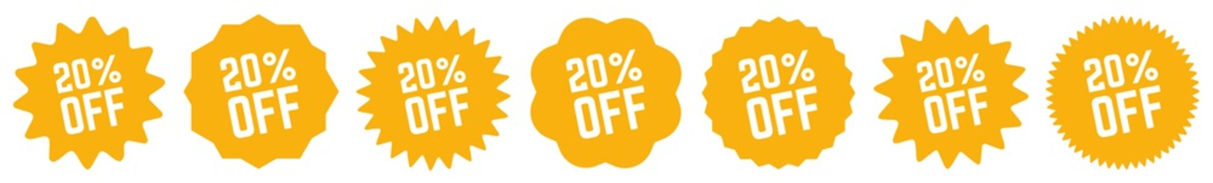 20 Percent OFF Discount Tag Orange | Special Offer Icon | Sale Sticker | Deal Label | Variations