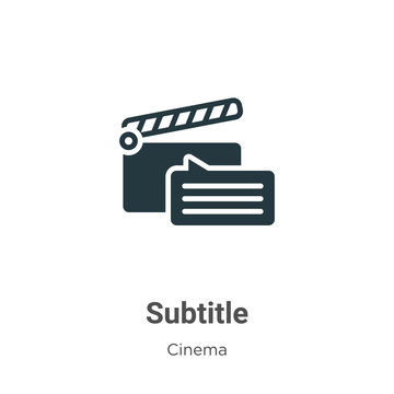 Subtitle vector icon on white background. Flat vector subtitle icon symbol sign from modern cinema collection for mobile concept and web apps design.