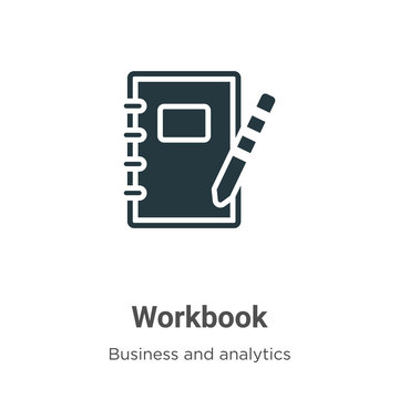 Workbook vector icon on white background. Flat vector workbook icon symbol sign from modern business collection for mobile concept and web apps design.