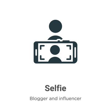 Selfie vector icon on white background. Flat vector selfie icon symbol sign from modern blogger and influencer collection for mobile concept and web apps design.