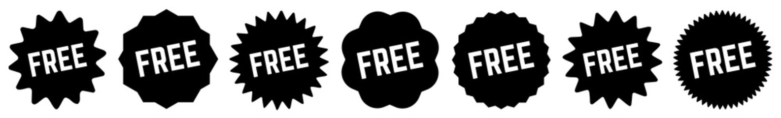 Free Tag Black | Special Offer Icon | Sticker | Deal Label | Variations Wall mural