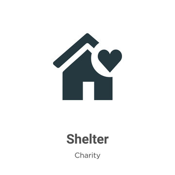 Shelter vector icon on white background. Flat vector shelter icon symbol sign from modern charity collection for mobile concept and web apps design.