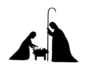 cute holy family silhouette manger characters