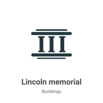Lincoln memorial vector icon on white background. Flat vector lincoln memorial icon symbol sign from modern buildings collection for mobile concept and web apps design.