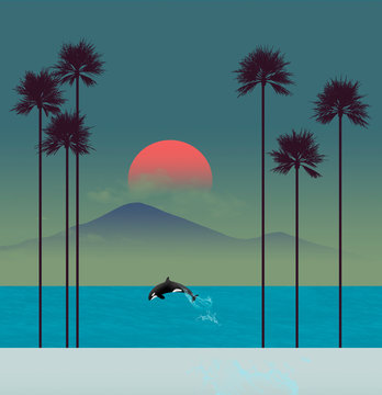 A tropical beach scene at sunset features palm trees and a leaping orca (killer whale).