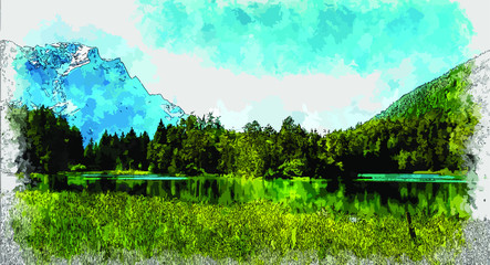 Water Color Digital Painting of Beautiful Green forest with lake, river and mountain . Forest Illustration. watercolor background drawn landscape of foggy forest Wild nature. Natural Wildlife Habitat