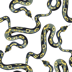 Watercolor pattern snake, exotic watercolor background , snake halloween background.