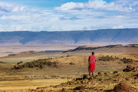 Maasai Tribe Man Looking Over Land