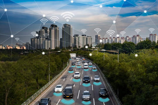 Smart car, Autonomous self-driving mode vehicle on metro city road IoT concept.