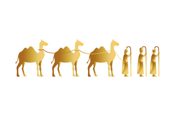 kings magicians with camels golden characters Fototapete