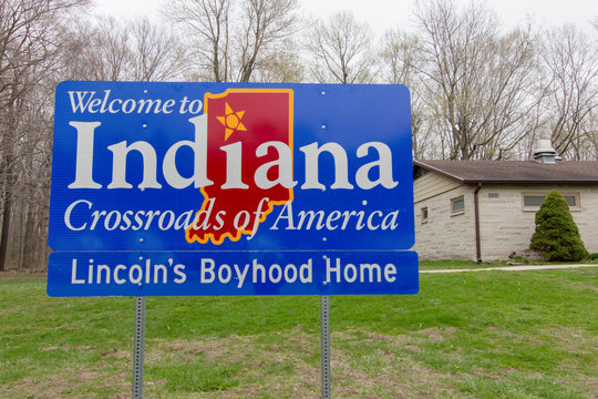 Michigan City, Indiana, USA - April 25, 2019: Indiana welcome sign at a rest area along Interstate 94 outside of Michigan City, Indiana