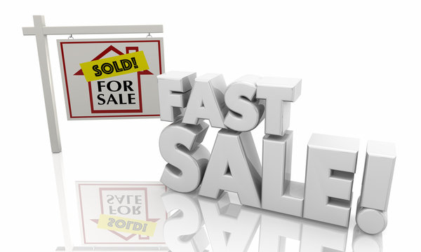 Fast Sale Hold House for Sale Sign Words 3d Illustration