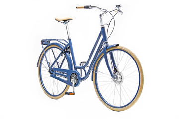 Fotobehang Fiets Isolated Blue Urban Woman City Bike in Perspective View