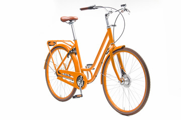 Tuinposter Fiets Isolated Orange Urban Woman City Bike in Perspective View
