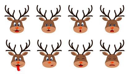 Heads of Deer with Different Emotions - Smiling, Sad, Anger, Aggression, Drowsiness, Fatigue, Malice, Fear