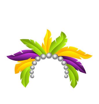 Mardi Gras Feather Headband, Headdress with Pearls, Headpiece Carnaval, Festival Headwear