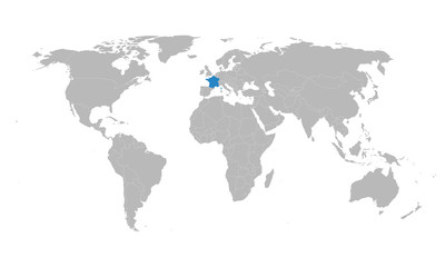 World map highlighted france european country vector