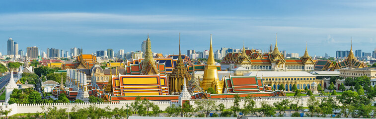 Panorama view of grand palace and emerald buddha temple in Bangkok.