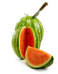 Fototapete - Isolated image of a watermelons on a white background