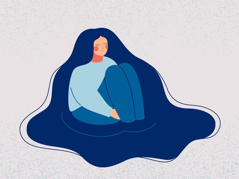 Depressed woman wallows in her sad thoughts. Upset woman sits in a puddle full of tears, her hands clasped around her ankles, immersed herself in sorrow recollections. Vector illustration