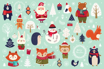 Fotomurales - Christmas decorative banner with funny Santa Claus, snowman and many others.