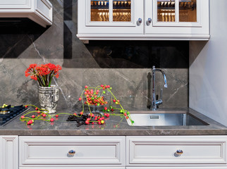 Red decor in a modern kitchen with marble countertop and apron