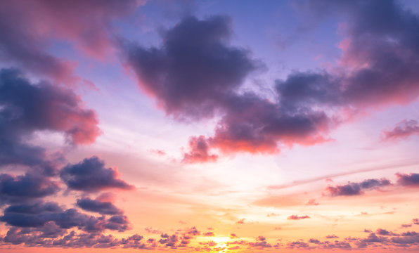 World environment day concept: Dramatic autumn sunset with twilight color sky and clouds background