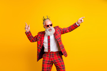 Photo of cool trendy look grandpa white beard dancing hip-hop strange moves wear crown sun specs...
