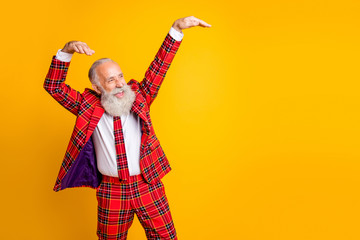 Photo of cool look grandpa with white beard at youngster party dancing modern strange moves wear...